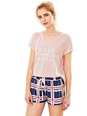 Milumia Women's V Neck Letter Print Tee and Drawstring Plaid Shorts Pajama Set