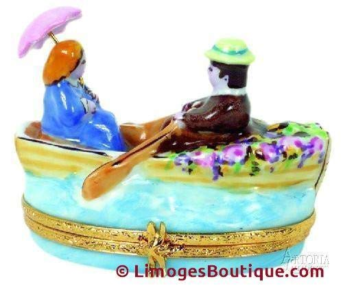 Lovers in Rowboat - French Limoges Boxes - Porcelain Figurines Collectible Gifts