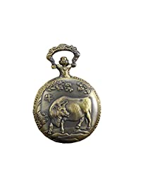 Vintage Engraved Style Pocket Watch Pendant Quartz Fob Watch With Chinese Zodiac Ox