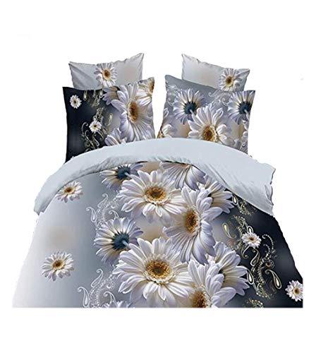 4PCS 3D White Chrysanthemum Bedding Set Comforter Prints Duvet Cover Set Queen Size