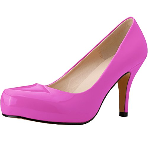 Women's neon Pumps purple Toe Platform Stiletto Round Heels Zbeibei Concealed High Dress U1vxdZUwpq