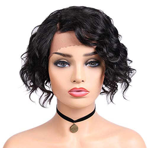 Quantum Love Lace Front Human Hair Wigs Natural Wave Side Part Wig Short Bob Brazilian Remy Human Hair Wigs For Women Natural Black Color ()