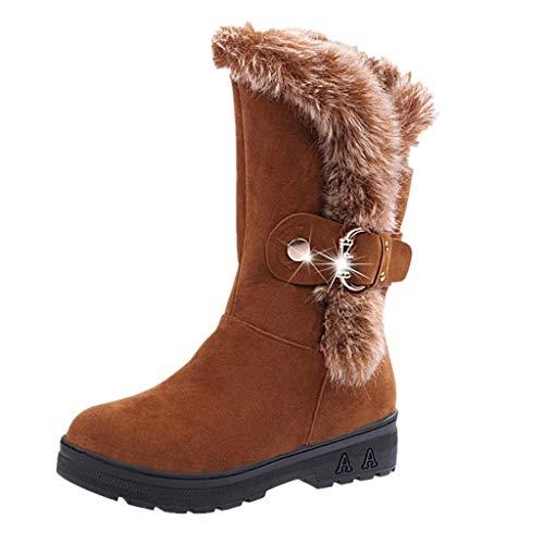 Cenglings Snow Boots Women Winter Anti-Slip Ankle Booties Waterproof Slip On Warm Fur Lined Sneaker ()