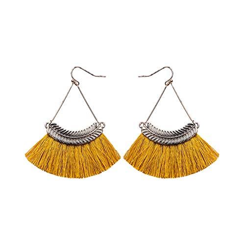 Tioland Women's Bohemian Earrings Retro Style Metal Willow Tassel Ladies Temperament Jewelry Yellow