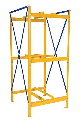 Vestil DRK-1-3 Steel Drum Storage Rack, 1 Wide, 3 High, 2400 lb. Capacity, Yellow Frame/Blue Cross Braces