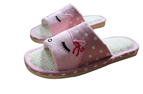 Wodeal Women and Men Novelty Cartoon Character Flax Cute Totes Funny House Bedroom Romeo Slippers Payless Pink Cz8Lfr