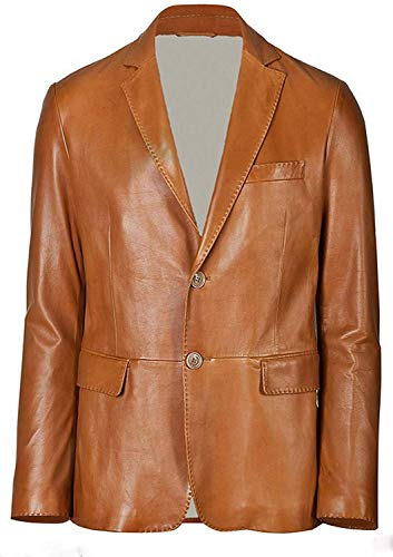 - King Leathers Men's Genuine Lambskin Real Leather Blazer Two Button Brown Coat