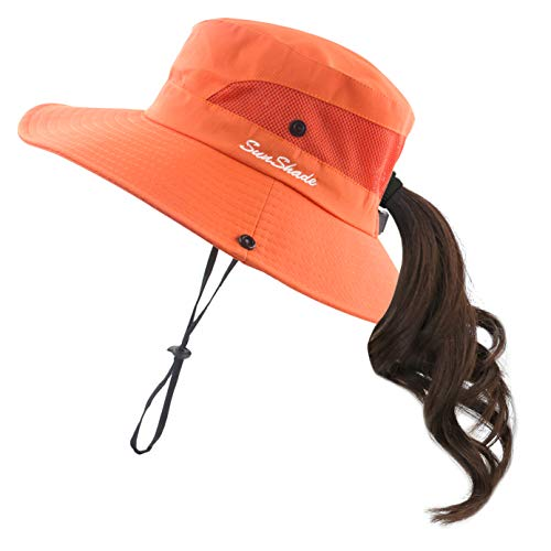Muryobao Women Ponytail Summer Sun Hat Wide Brim UV Hats Floppy Bucket Cap for Safari Beach Fishing Gardening Pure Orange