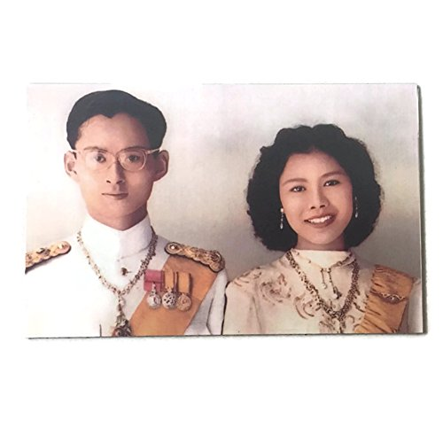 Agility Thailand's King Bhumibol Aulyadej & Queen Sirikit Portrait Art 1 Collectible Vintage Photo Fridge Magnet