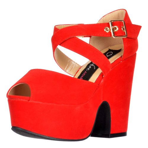 Onlineshoe, Damen Pumps Rote Wildleder