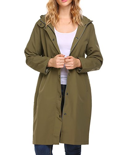 Zeagoo Hikng Raincoat Anorak Women Long Sleeve Raincoat with Zippers Buttons Olive Green,Army Green,X-Large