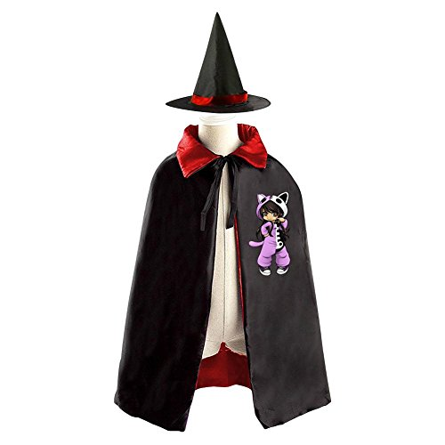 DBT Aphmau Cat Girl Childrens' Halloween Costume Wizard Witch Cloak Cape Robe and (Stampy Cat Costume For Halloween)