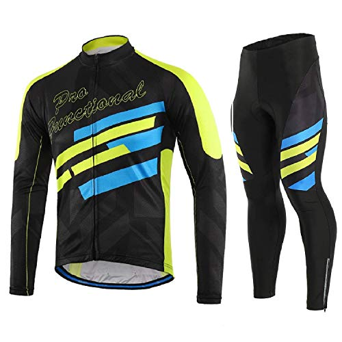 Lixada Men's Cycling Jersey Suit Winter Thermal Fleece Long Sleeve Mountain Bike Road Bicycle Shirt with 3D Tights Padded Pants ()