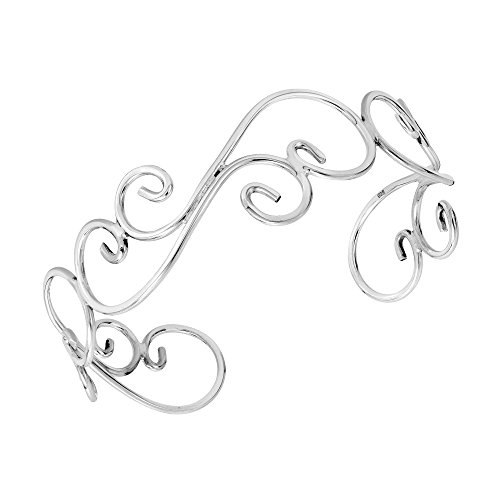 Swirl Silver Open Sterling - AeraVida Elegant Open Swirl .925 Sterling Silver Cuff Bracelet