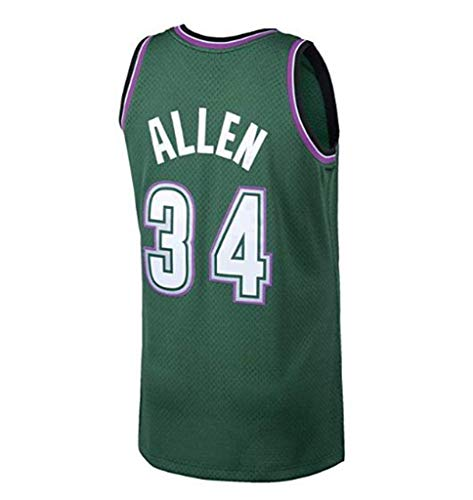 LLZYL NBA 34# All-Stars Ray Allen Heat Team, Cool Breathable Fabric Classic Sleeveless, Men's and Unisex Basketball Shorts T-Shirt Jersey (Green),L:180cm/75~85kg