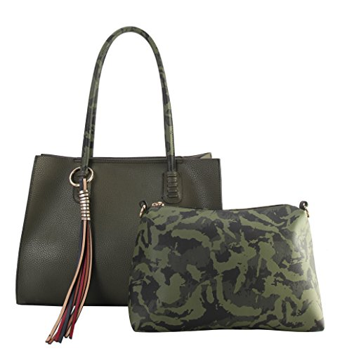 Diophy Color Multi PU Handbag Camo 2 Tassels Shoulder Set FC 6453 with Leather Large amp; Pieces Handles Olive Hq1wgrH