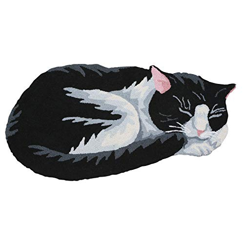 (WHAT ON EARTH Hand-Hooked Black and White Cat Area Rug )