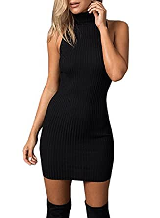 Futurino Women Solid Turtle Neck Cross Back Rib Knit Bodycon Sheath Mini Dress