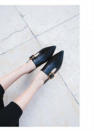 34 Metal Hebilla Cuero Negro DIDIDD Zapatos con Tacones de Boca Y de Zapatos de Primavera de Altos Verano Señaló Baja Herradura zq4wP