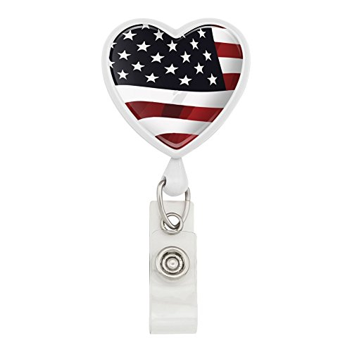(US American Flag Stars and Stripes Waving United States USA Heart Lanyard Retractable Reel Badge ID Card Holder - White)
