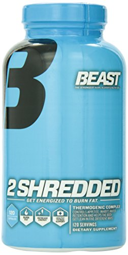 Beast Sports Nutrition 2 Shredded Thermogenic Weight Loss Supplement. All-In-One Formula-Fat Burner, Appetite Suppressant and Water Pill To Help Shed Fat and Excess Water. 120 Natural Veggie Caps