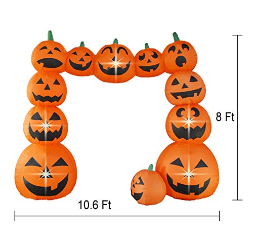 Bigjoys 8 Ft Halloween Inflatable Pumpkin Arch Archway Gate Decoration for Indoor Outdoor Home Yard Party by Bigjoys (Image #1)
