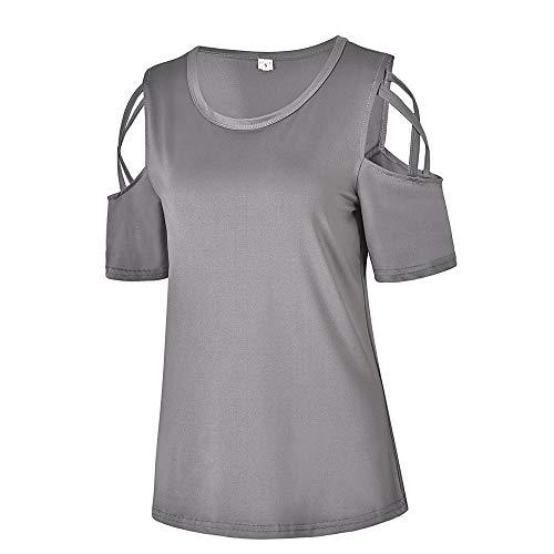 T Pull Shirt sans Femmes Bretelles femme Chemise Soie pour LANSKIRT Femme Courtes Gris Manches Sexy sexy en paules de Gilet Manches dnudes Mousseline Y0dWW6q