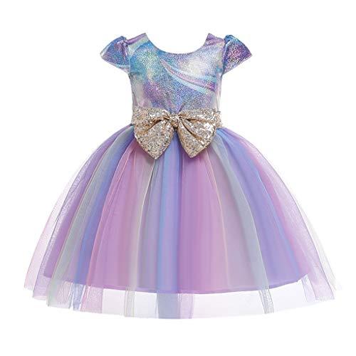 aihihe Toddler Girls Unicorn Dress Sleeveless Dresses Sequin Mesh Bowknot Pageant Party Wedding Princess Tutu Dresses Purple