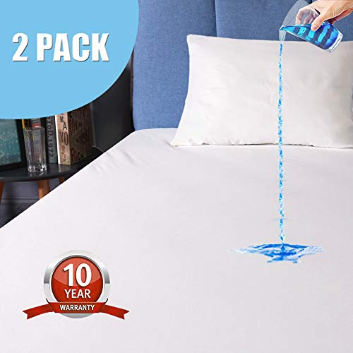 - 2 Pack Queen Size Waterproof Mattress Protector, Premium Hypoallergenic Mattress Cover, Vinyl Free, High Density Durable Smooth, Dust Mite Proof, Noiseless Breathable Bed Cover - 10 Year Warranty