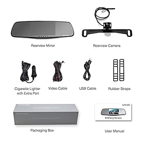 "AUTO-VOX Full HD 1080P Upgraded Dual Lens Front and Rear Dash Cam Rear View Mirror Monitor 5/"" Screen and IP 68 Waterproof Backup Camera License Plate with LED Superior Night Vision"