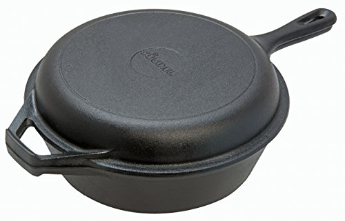 Pre-Seasoned Cast Iron 2-In-1 Combo Cooker | 3-Quart Dutch Oven and Skillet Lid Set Oven Safe Cookware | Use As Dutch Oven and Frying Pan | Indoor and Outdoor Use | Grill, Stovetop, Induction Safe