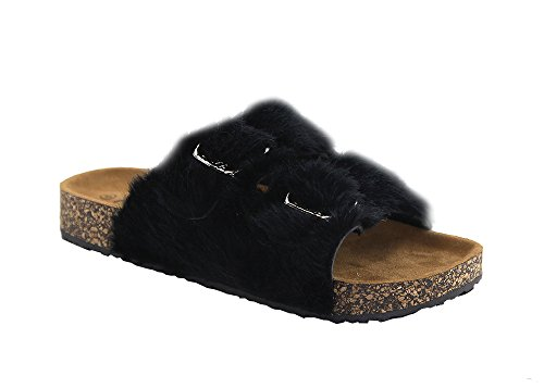 Sandalias Planas Anna Two-strap Furry Slide Black