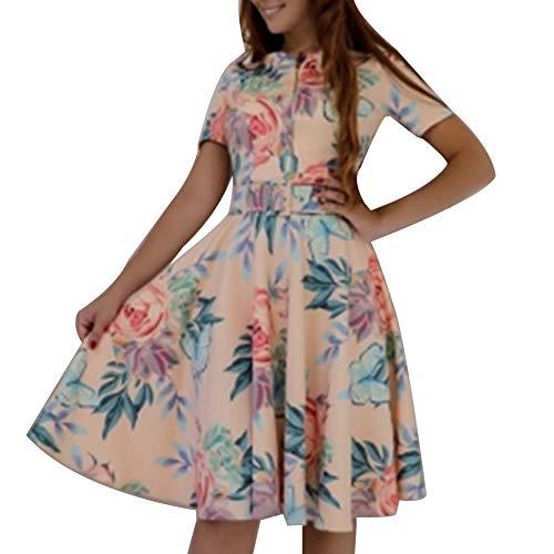 qiguch66 Women Swing Midi Dress,Vintage Flower Print Women Short Sleeve Front Zipper Belted Swing Midi Dress Apricot XL