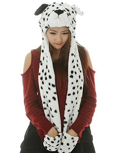 Pulama Cute Kids Animal Hat Gloves Scarf 3 In 1 - Winter Warm Dalmation Bolt Costume Hood Toy (Cute Costumes For Men)