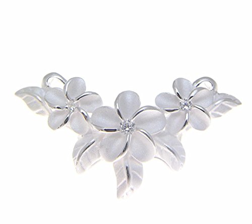 Arthurs Jewelry 925 sterling silver pink rose gold plated Hawaiian plumeria flower maile leaf cz slider pendant