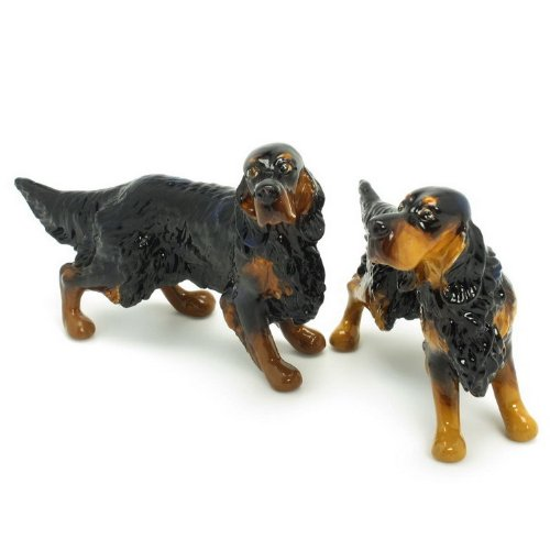 Gordon Setter Dog Ceramic Figurine Salt Pepper Shaker 00001 Ceramic Handmade Dog Lover Gift Collectible Home Decor Art and Crafts