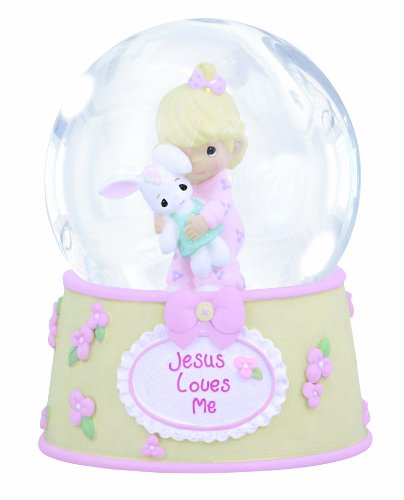 (Precious Moments,  Jesus Loves Me, Resin/Glass Snow Globe, Girl, Musical, 132102)