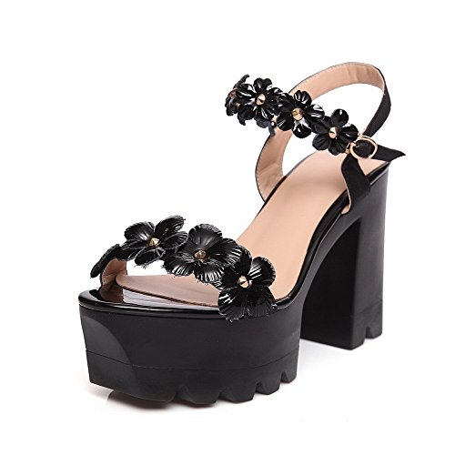 AllhqFashion Womens High-Heels Solid Buckle Patent Leather Open Toe Sandals Black V3jvaC78H