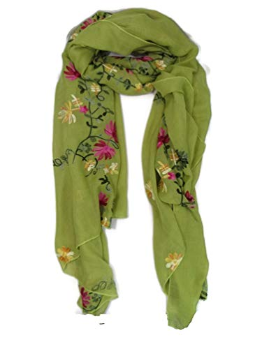 Chrysanthemum Vines Floral Light Weight Viscose Embroidered Scarf Wrap Shawl Hijab Sheer 68