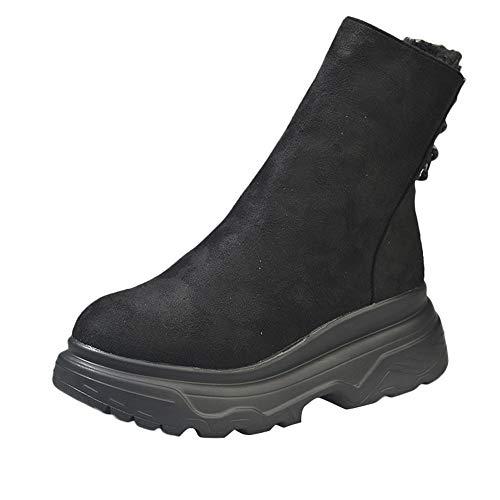 Zapatillas para Mujer by BaZhaHei, Zapatos para Mujer Plataforma Tacón Grueso Antideslizante Punta Redonda Botas clásico de la Moda de Hebilla Informal de ...