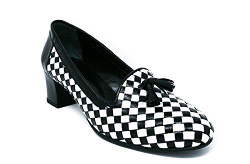 Blanco de Grace Colección para 9 US Mujer Zapato Tacón Cuero de Negro BOBERCK X7Zq1Owxx