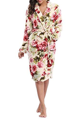 c4d3cadb47 VIKEY Women s Plush Coral Fleece Short Bathrobe with Side PocketsFloral  BeigeM