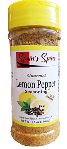 Spain's Gourmet Lemon Pepper Seasoning, Low Sodium, Gluten Free, Sugar Free, No MSG, No GMO, No Preservatives (5.1 oz)