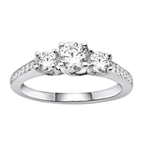 OMEGA JEWELLERY 0.52 Ct Round Cut Real Diamond 14K White Gold Over Three-Stone Wedding Band (Omega Diamond Ring)