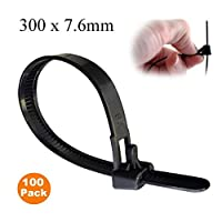 100 x Black Releasable Cable Ties 300mm x 7.6mm Reusable Wire Tidy Zip Wrap Straps
