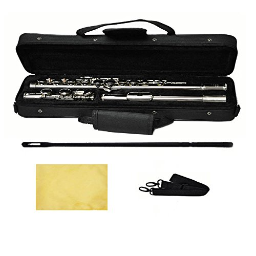 Hallelu HFL-200 Flute W/case Nickel Plated Keys by Hallelu Music