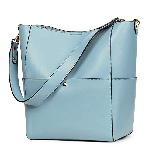 (S-ZONE Women's Vintage Leather Bucket Tote Shoulder Bag Hobo Handbag Purse (Light Blue-Upgraded Version))