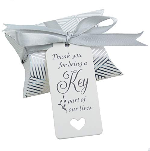 Stride Sweet - 50pcs Vintage Kraft Box Sweet Paper Candy Box Gift Box with Ribbon Gift Tags for Wedding Birthday Party (Silver Stride)