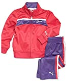 PUMA Little Girl Striped Track Set 5 Berry Red Purple