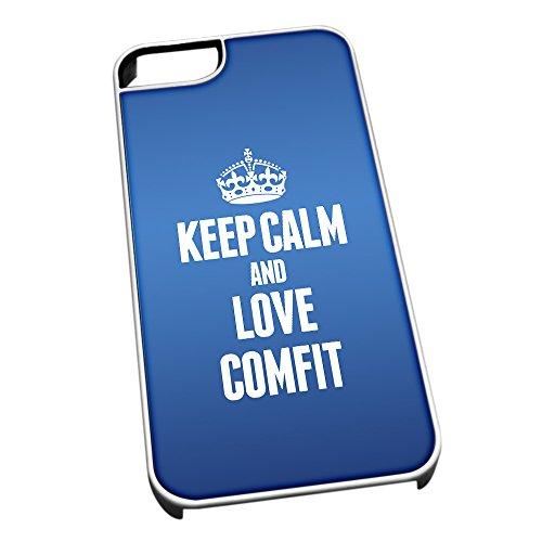 Bianco cover per iPhone 5/5S, blu 0985Keep Calm and Love Comfit